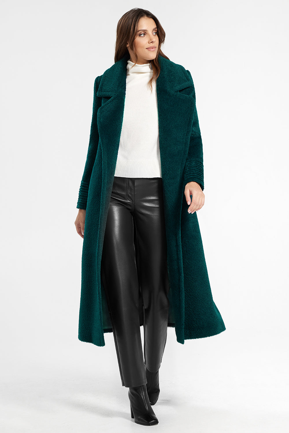 Sentaler Bouclé Alpaca Long Notched Collar Wrap Coat featured in Bouclé Alpaca and available in Emerald Green. Seen open.