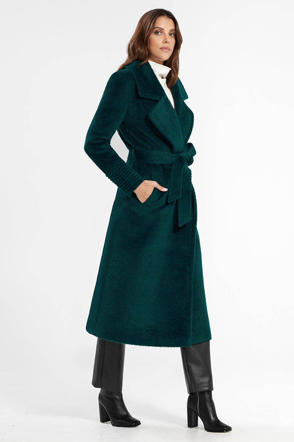 Sentaler Bouclé Alpaca Long Notched Collar Wrap Coat featured in Bouclé Alpaca and available in Emerald Green. Seen from side.