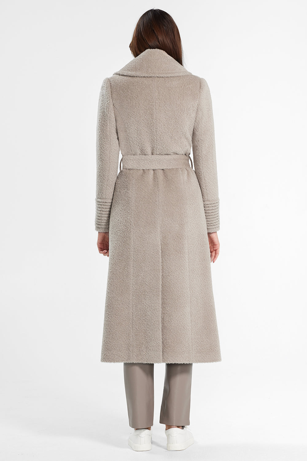 Sentaler Bouclé Alpaca Long Notched Collar Wrap Coat featured in Bouclé Alpaca and available in Sand. Seen from back.