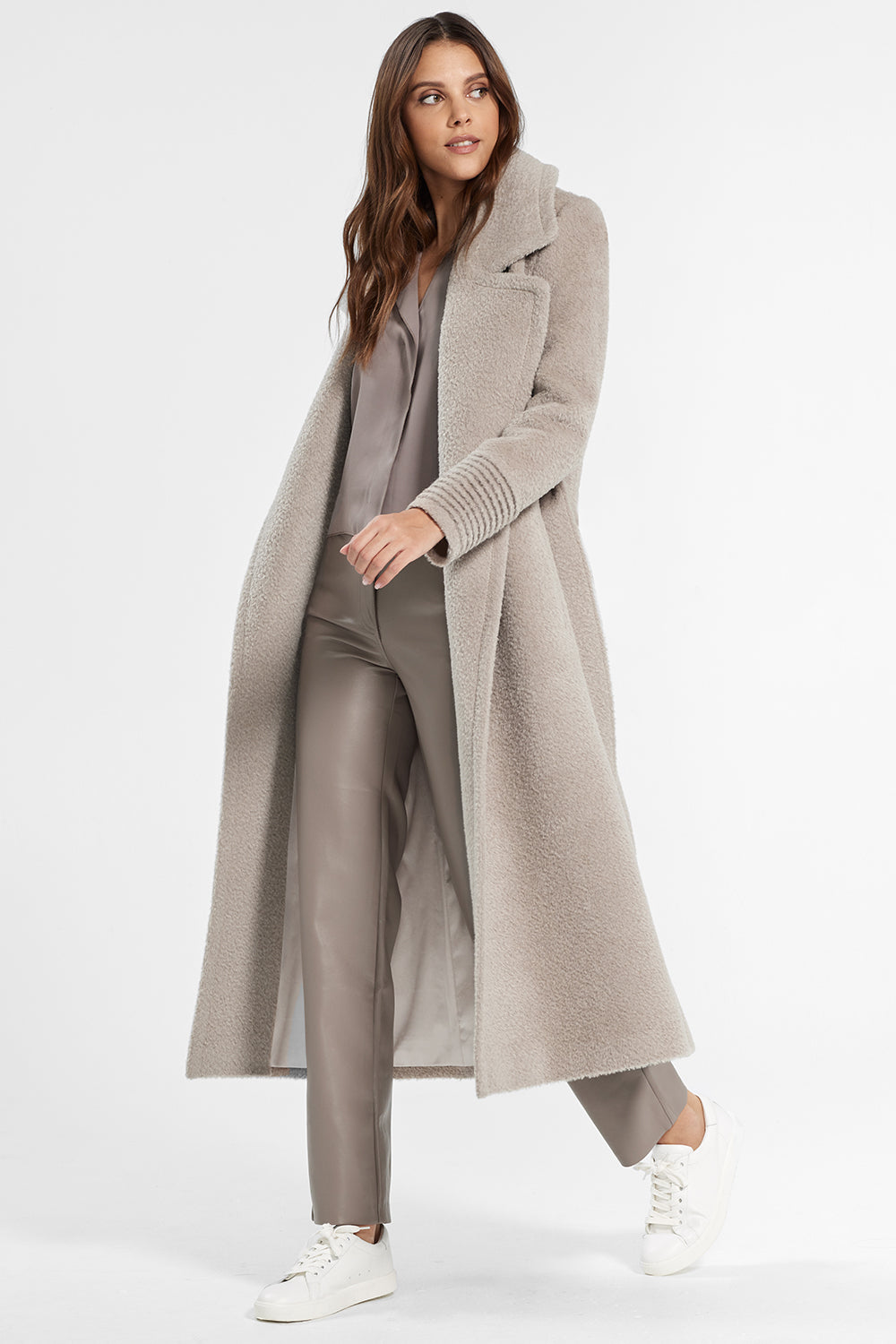 Sentaler Bouclé Alpaca Long Notched Collar Wrap Coat featured in Bouclé Alpaca and available in Sand. Seen open.
