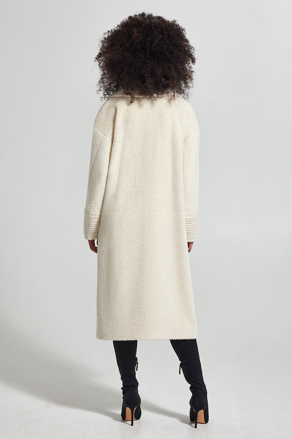 Sentaler Bouclé Alpaca Long Oversized Notched Collar Coat featured in Bouclé Alpaca and available in Ivory. Seen from back.