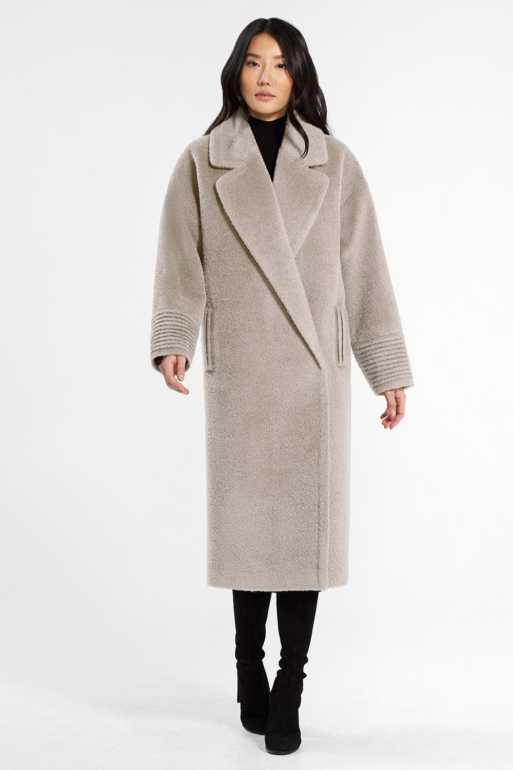 Sentaler Bouclé Alpaca Long Oversized Notched Collar Coat featured in Bouclé Alpaca and available in Sand. Seen from front