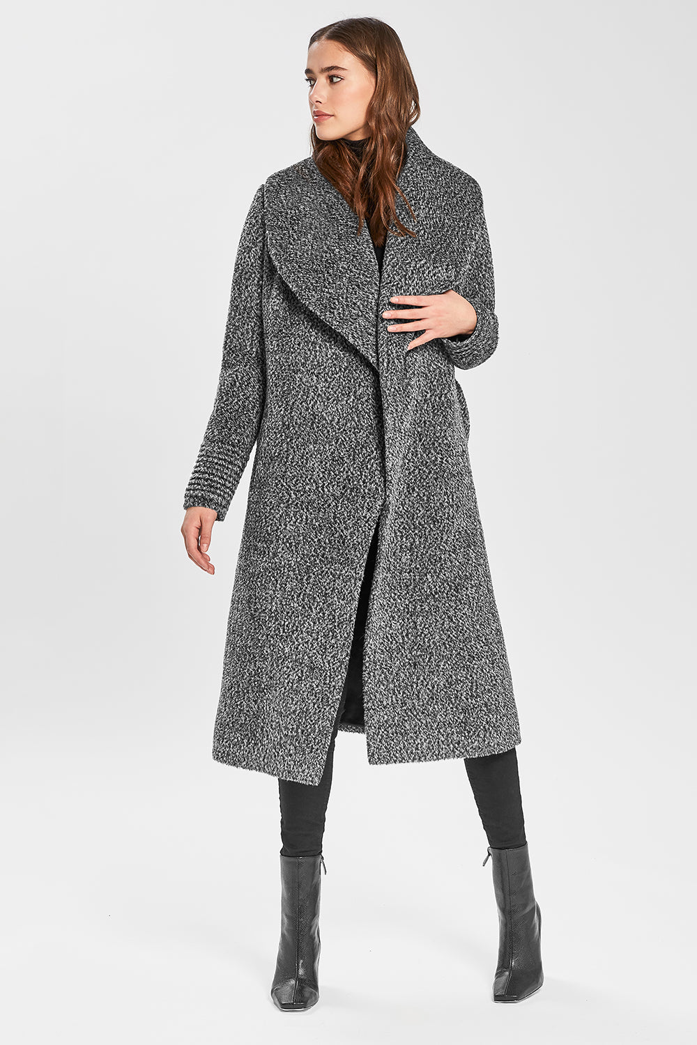 Sentaler Bouclé Alpaca Long Wide Shawl Collar Wrap Coat featured in Bouclé Alpaca and available in Salt & Pepper. Seen open.