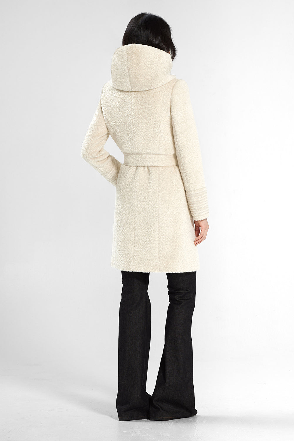 Sentaler Bouclé Alpaca Mid Length Hooded Wrap Coat featured in Bouclé Alpaca and available in Ivory. Seen from back.