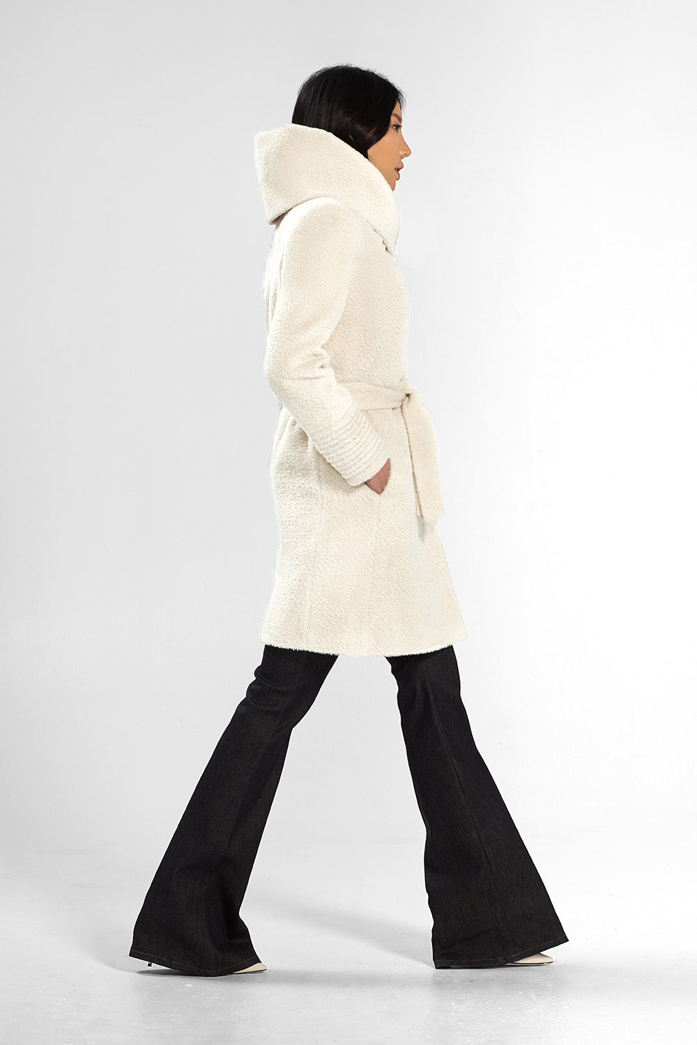 Sentaler Bouclé Alpaca Mid Length Hooded Wrap Coat featured in Bouclé Alpaca and available in Ivory. Seen from side.