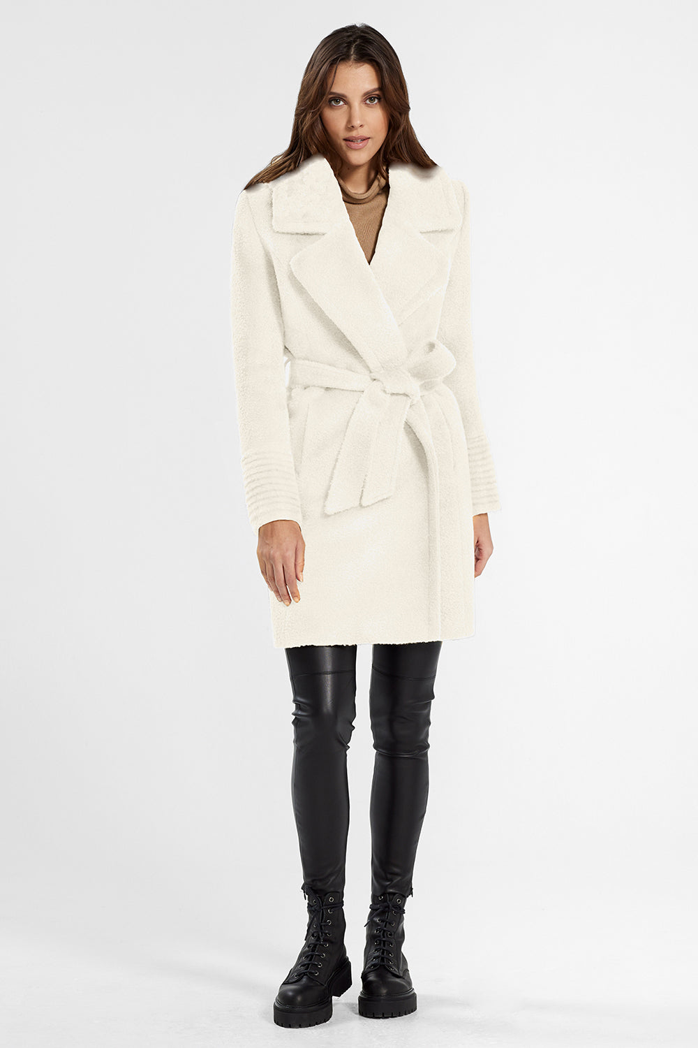 Sentaler Bouclé Alpaca Mid Length Notched Collar Wrap Coat featured in Bouclé Alpaca and available in Ivory. Seen from front.