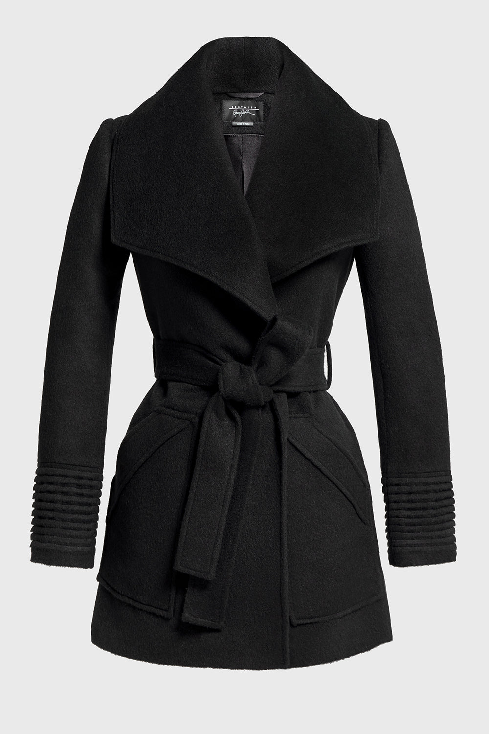 Sentaler Cropped Wide Collar Wrap Coat featured in Baby Alpaca and available in Black. Seen off model.