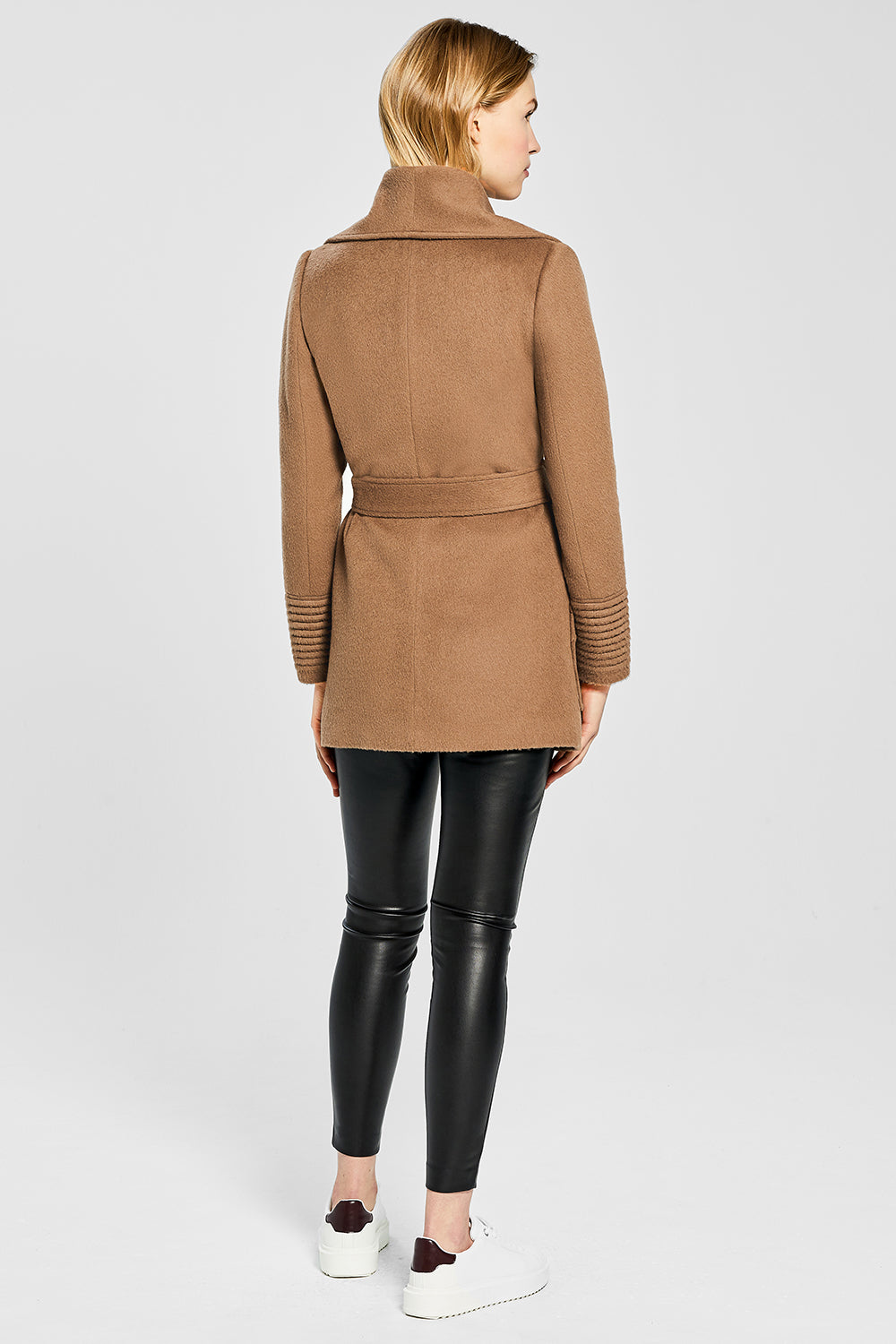 Sentaler Cropped Wide Collar Wrap Coat featured in Baby Alpaca and available in Dark Camel. Seen from back.