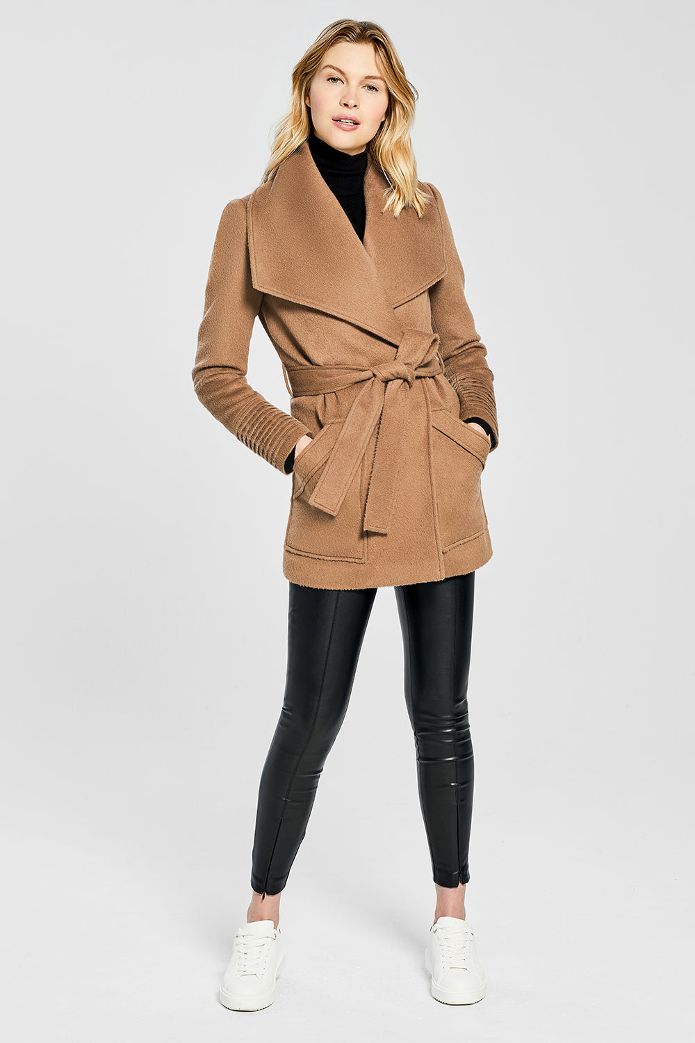 Sentaler Cropped Wide Collar Wrap Coat featured in Baby Alpaca and available in Dark Camel. Seen from front.