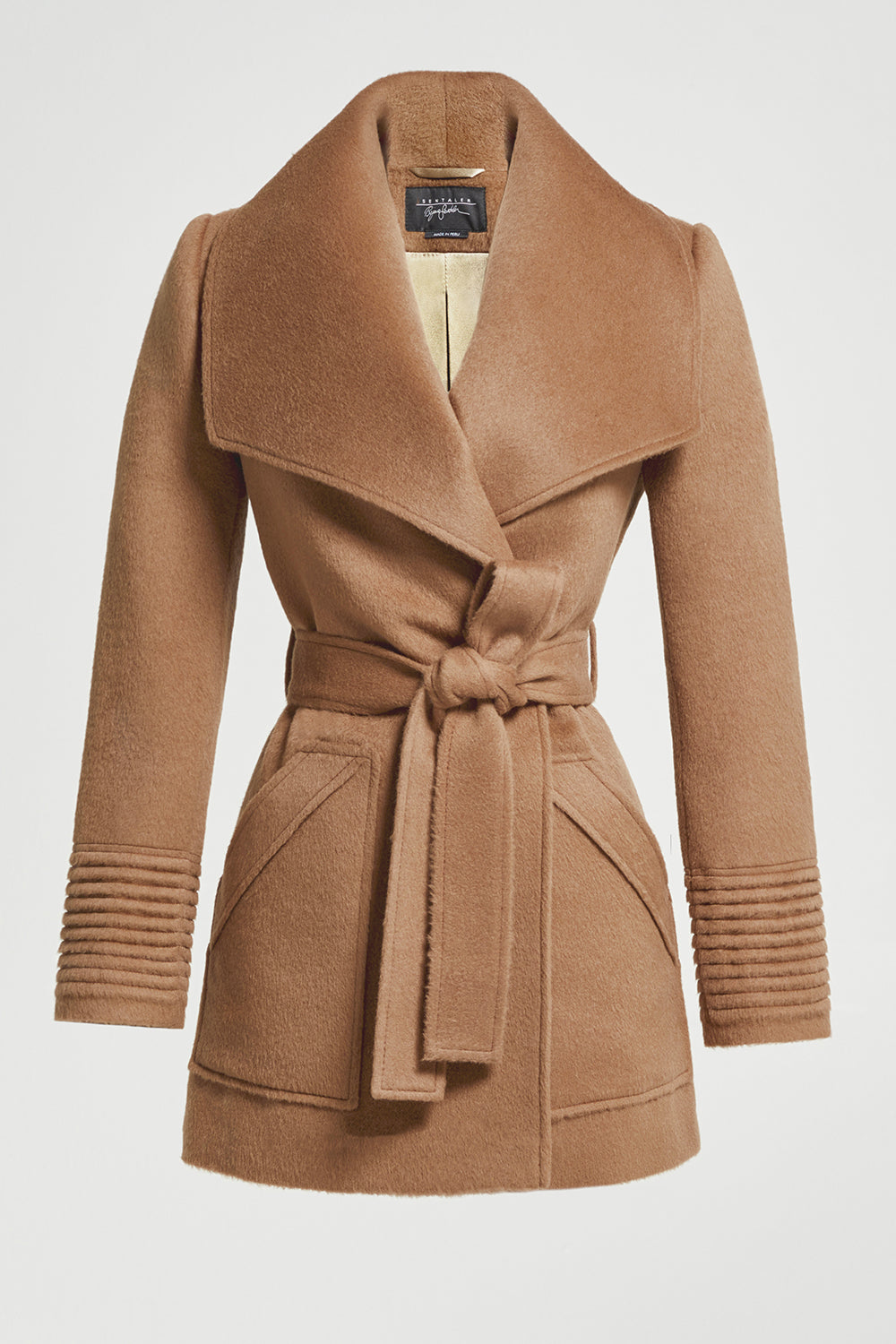 Sentaler Cropped Wide Collar Wrap Coat featured in Baby Alpaca and available in Dark Camel. Seen off model.