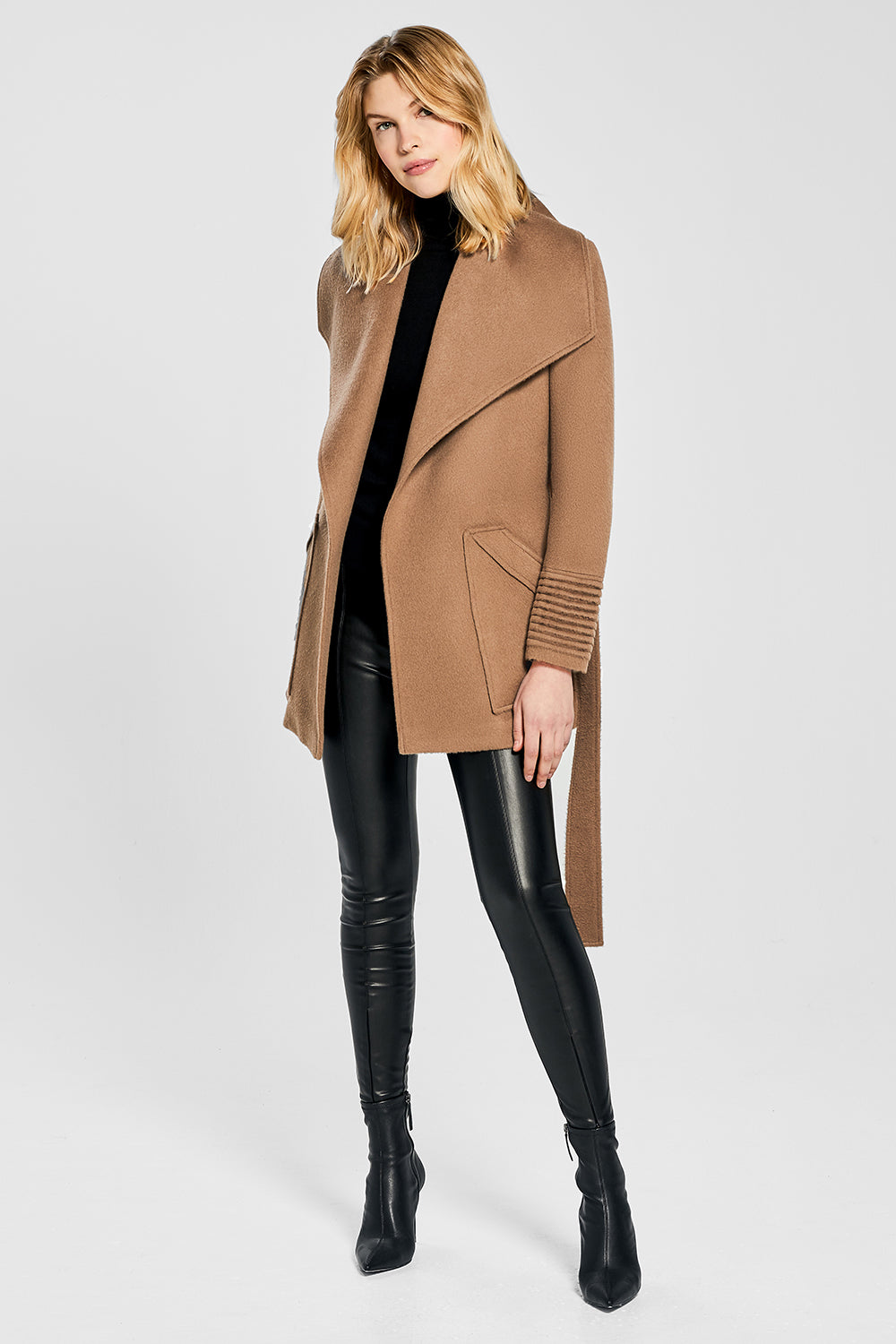 Sentaler Cropped Wide Collar Wrap Coat featured in Baby Alpaca and available in Dark Camel. Seen open.