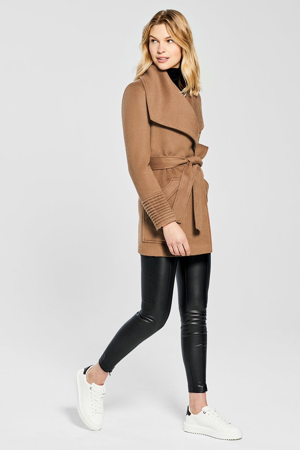 Sentaler Cropped Wide Collar Wrap Coat featured in Baby Alpaca and available in Dark Camel. Seen from side.