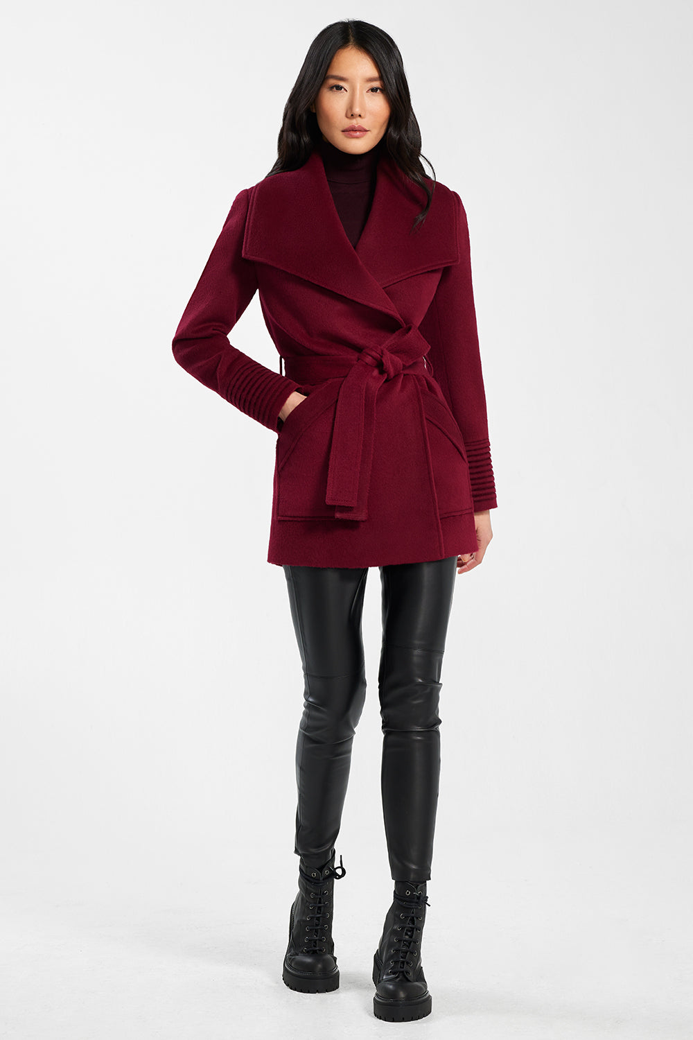 Sentaler Cropped Wide Collar Wrap Coat featured in Baby Alpaca and available in Garnet Red. Seen from front.