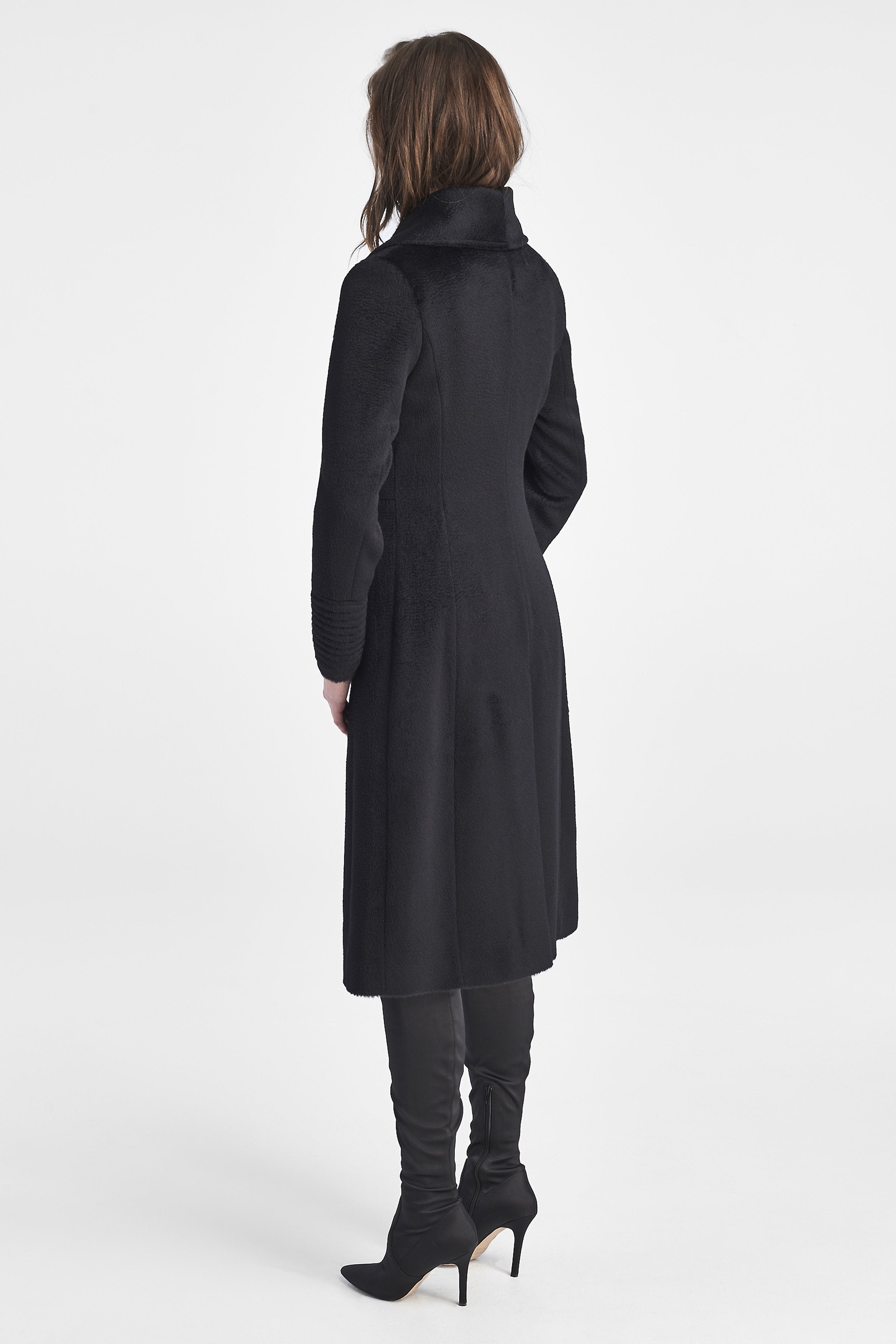 Empire Waist A-Line Coat, Black