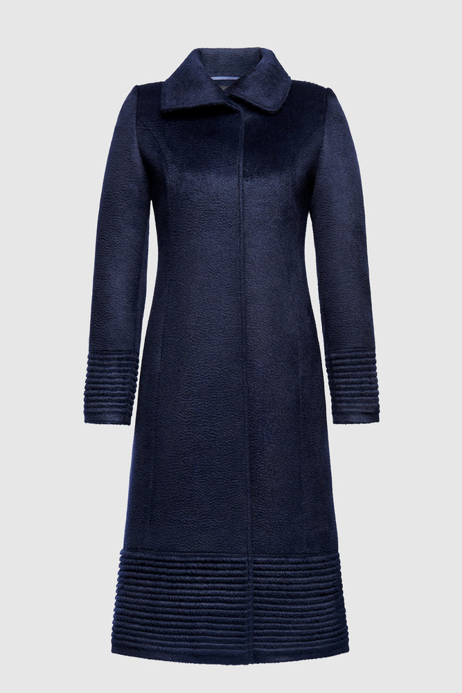 Fitted Coat with Ribbed Bottom and Cuffs, Navy