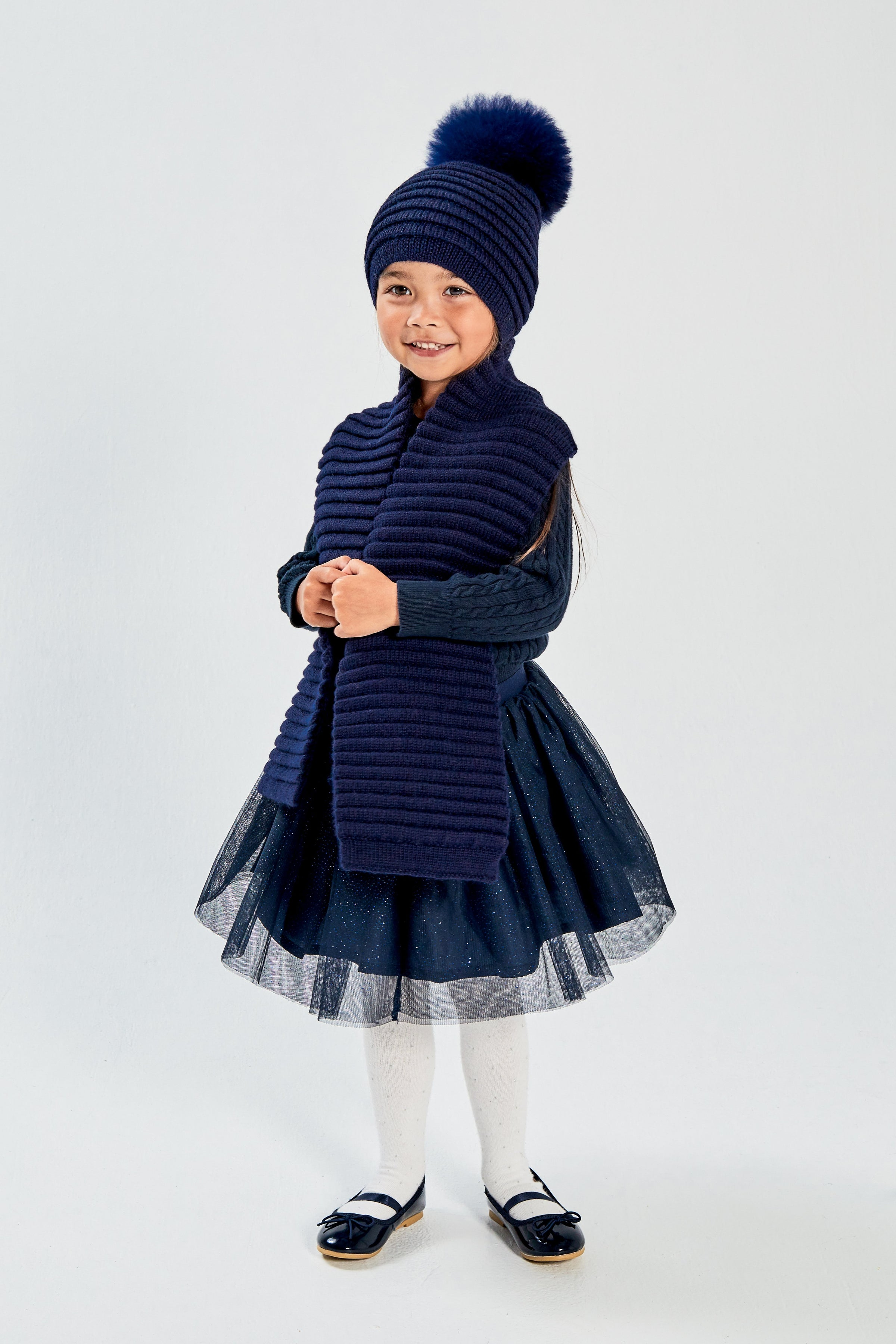 Kids Ribbed Scarf, Navy