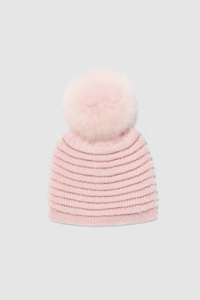 Kids Ribbed Hat with Oversized Fur Pompon, Pink