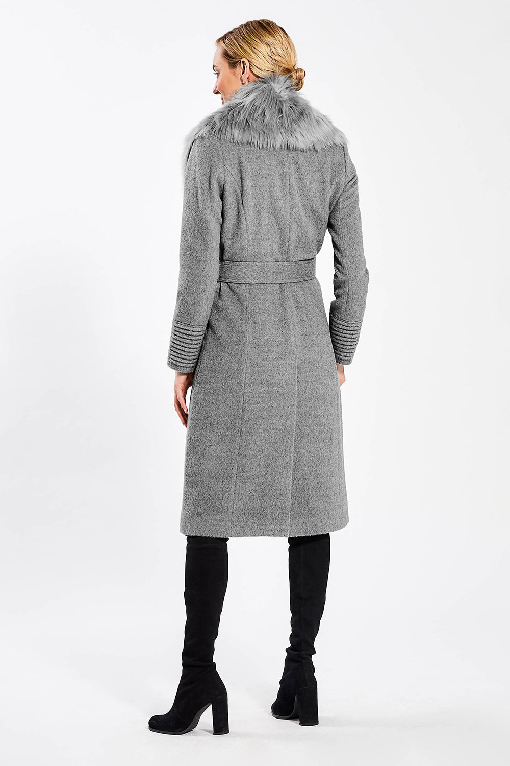 Sentaler Long Coat with Fur Collar featured in Baby Alpaca and available in Shale Grey. Seen from back.