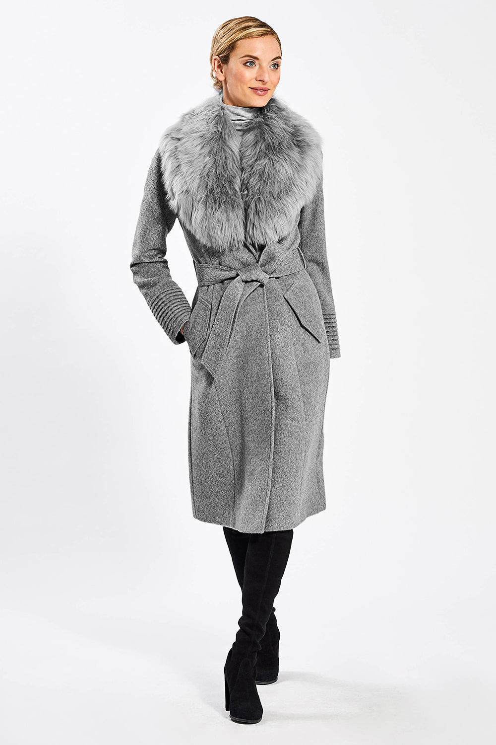 Sentaler Long Coat with Fur Collar featured in Baby Alpaca and available in Shale Grey. Seen from front.