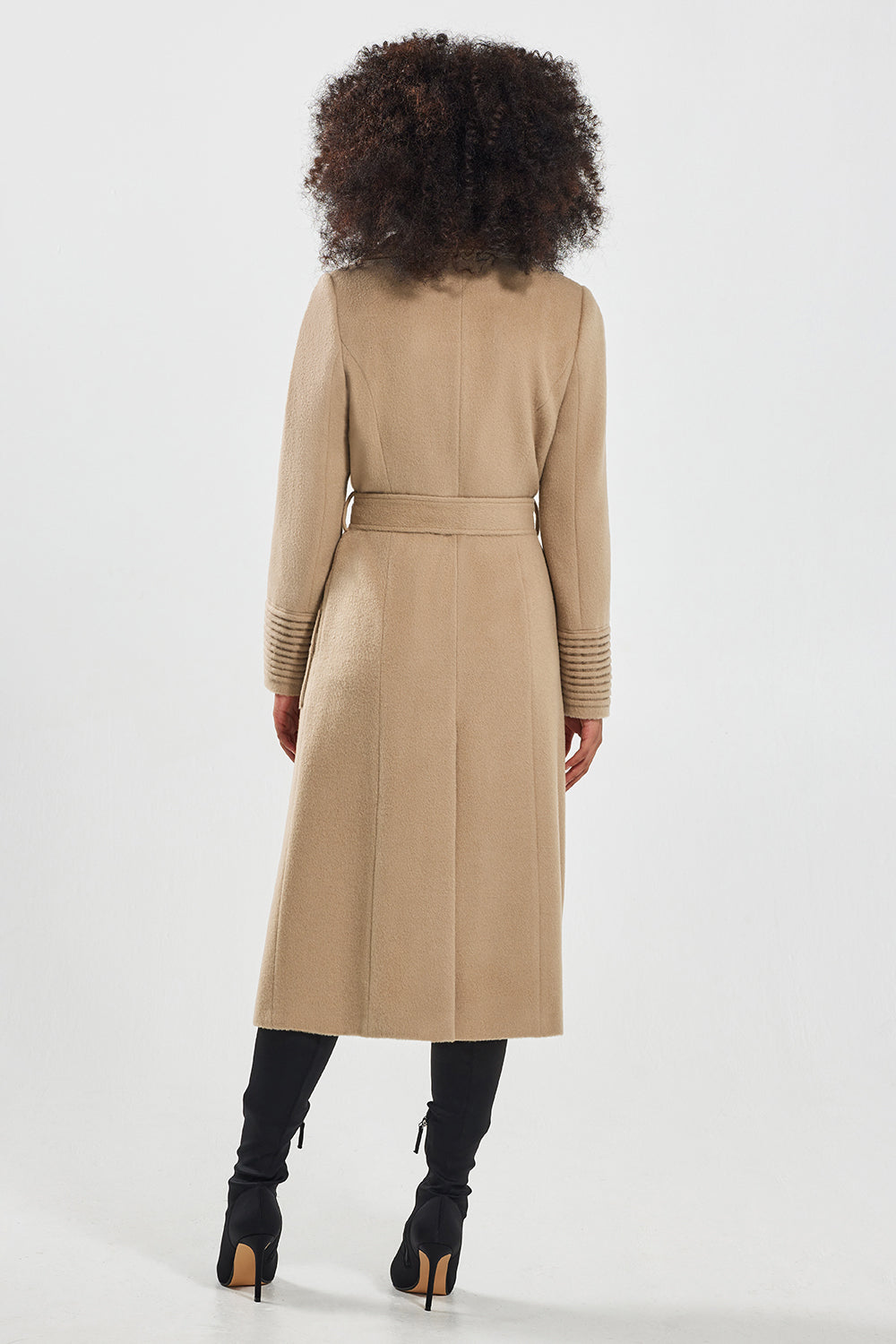 Sentaler Long Wide Collar Wrap Coat featured in Baby Alpaca and available in Camel. Seen from back.