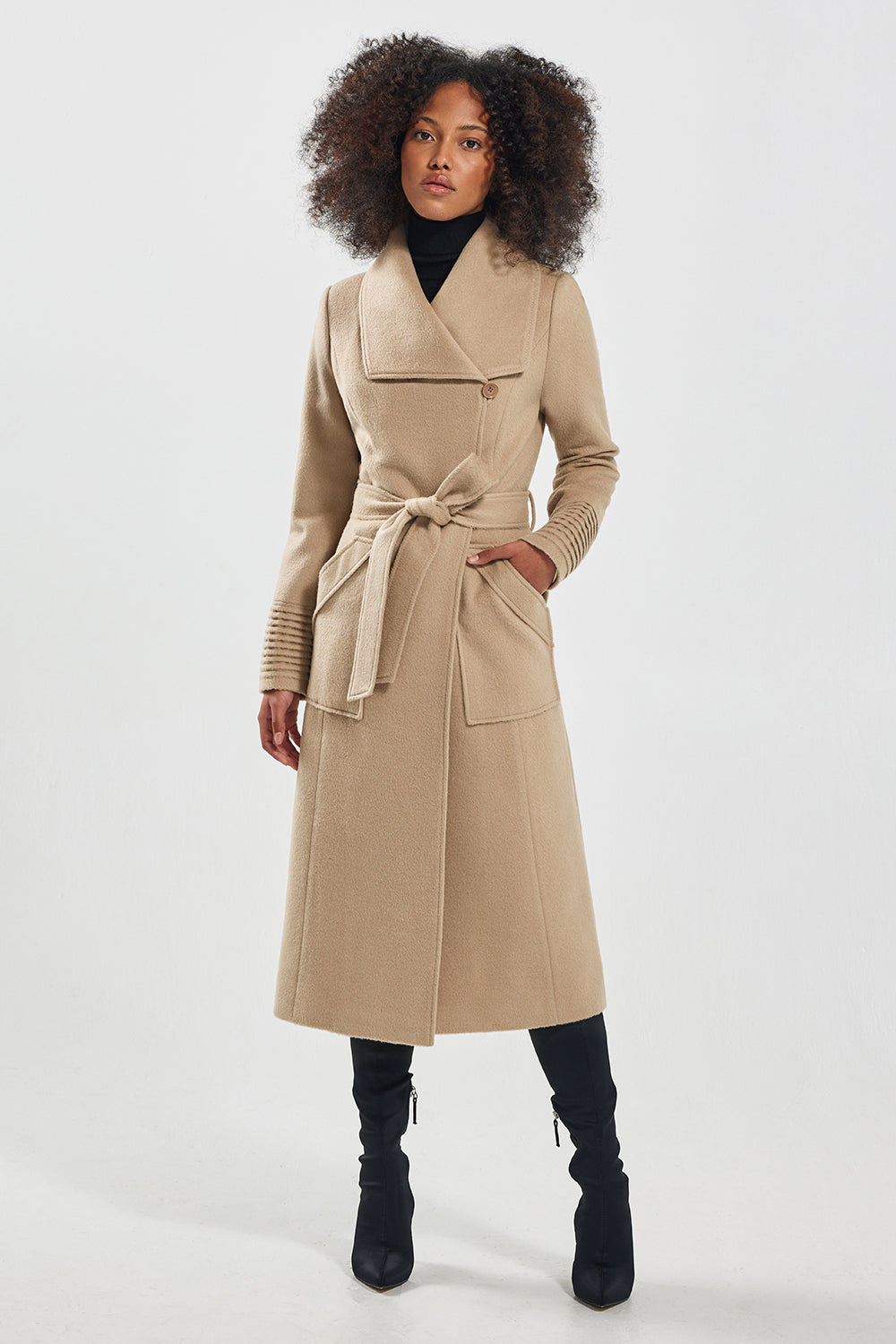 Sentaler Long Wide Collar Wrap Coat featured in Baby Alpaca and available in Camel. Seen from front.