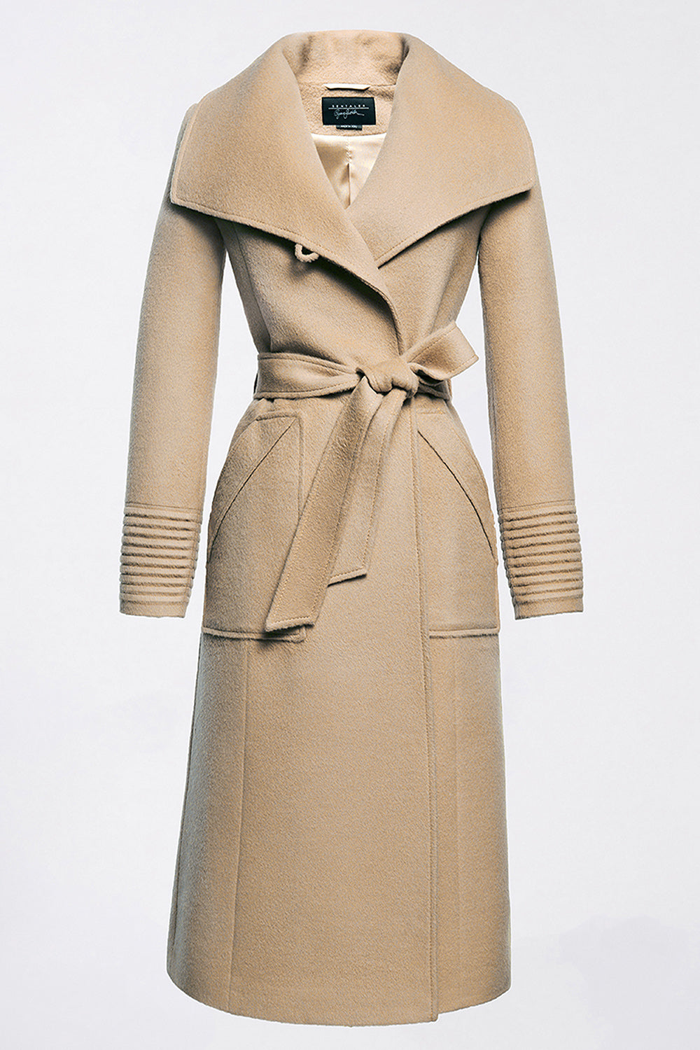 Sentaler Long Wide Collar Wrap Coat featured in Baby Alpaca and available in Camel. Seen off model.