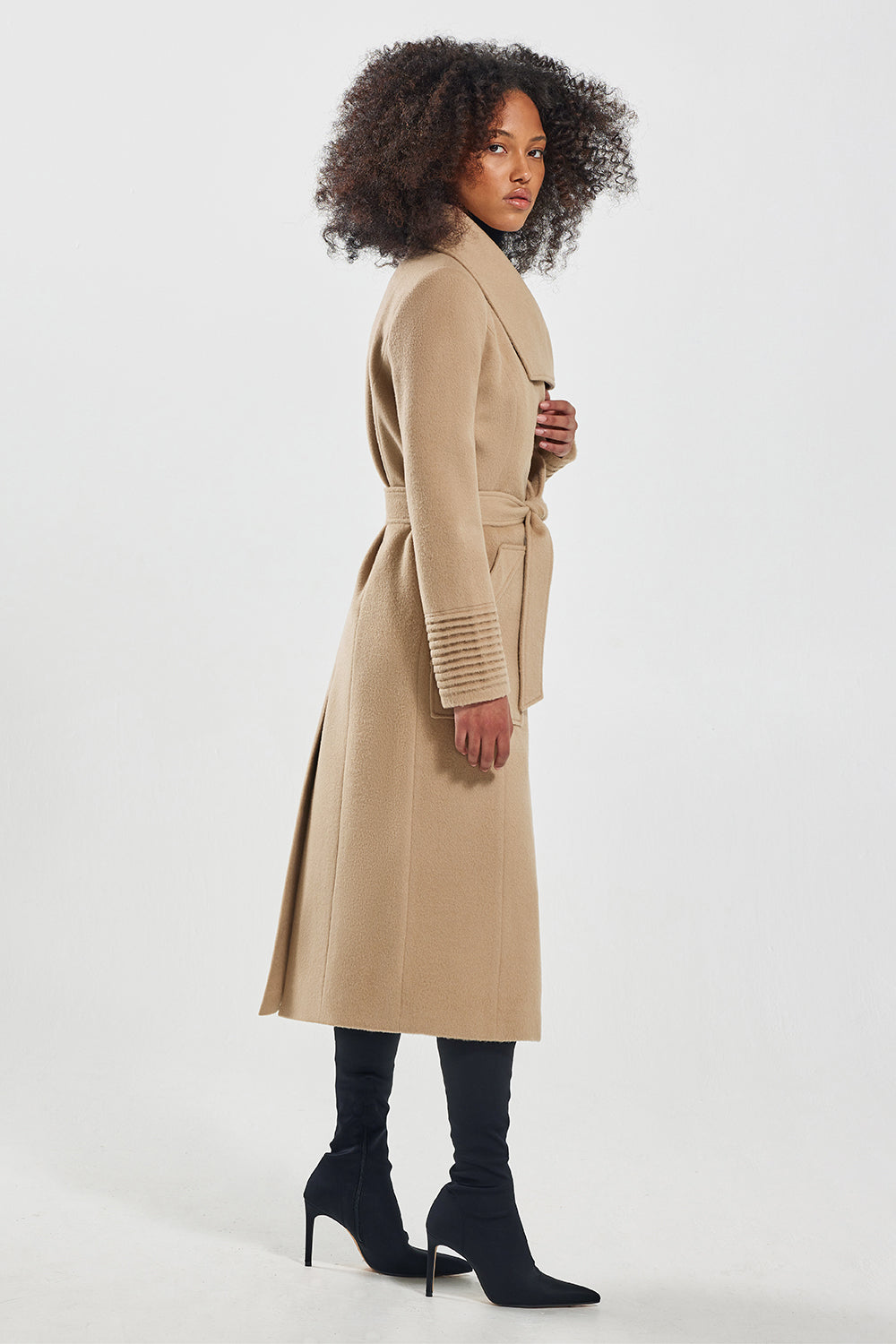 Sentaler Long Wide Collar Wrap Coat featured in Baby Alpaca and available in Camel. Seen from side.