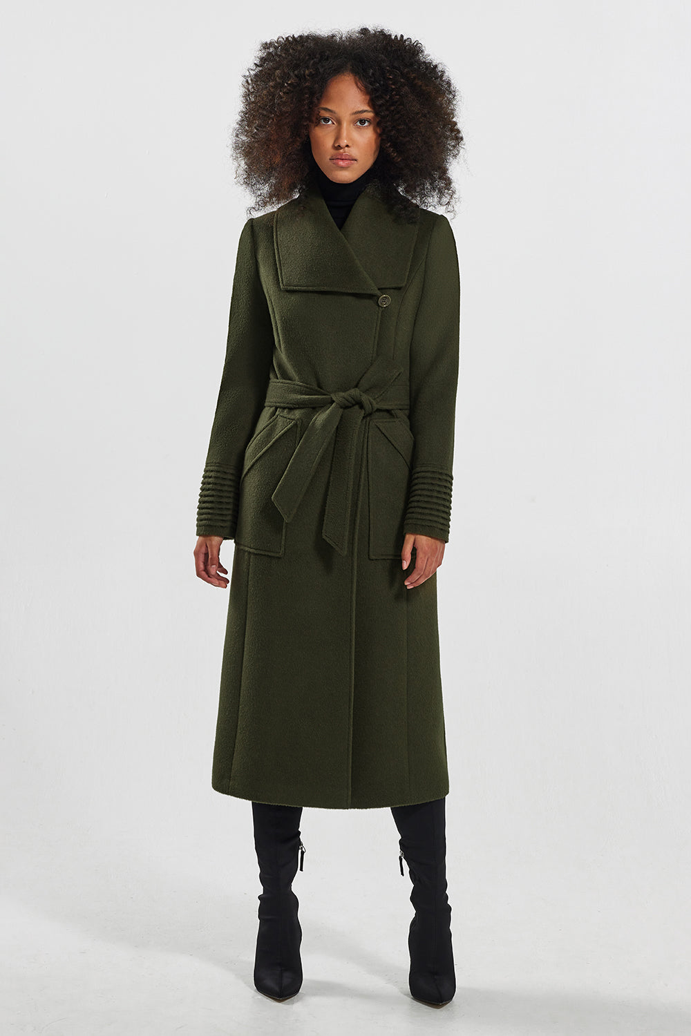 Sentaler Long Wide Collar Wrap Coat featured in Baby Alpaca and available in Olive. Seen from side.
