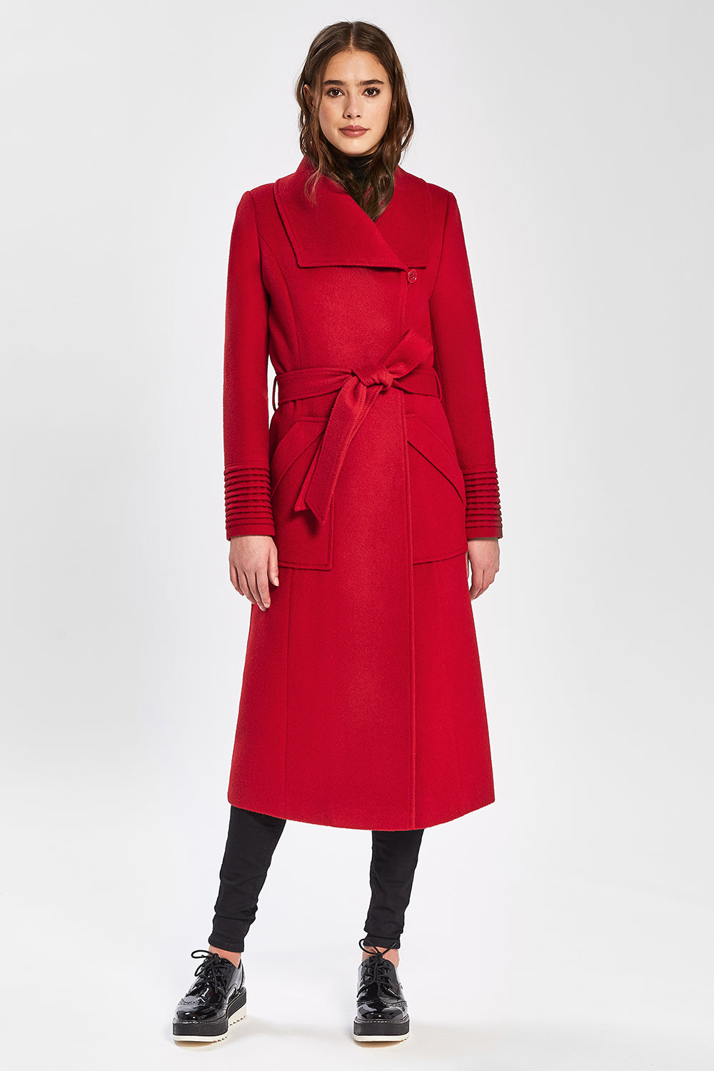 Sentaler Long Wide Collar Wrap Coat featured in Baby Alpaca and available in Scarlet Red. Seen from front.