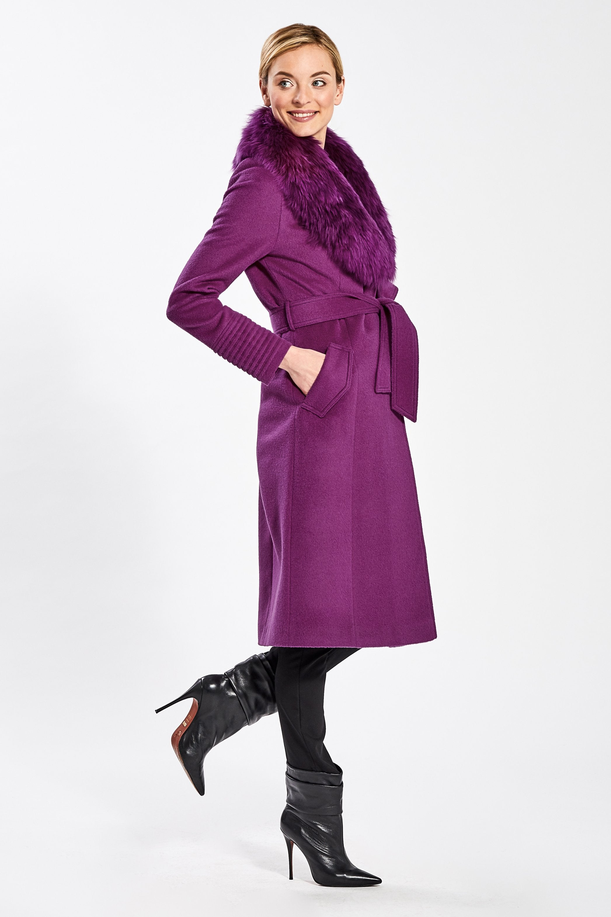 Long Coat with Fur Collar, Mulberry