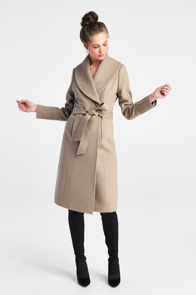 Long Shawl Collar Wrap Coat, Camel