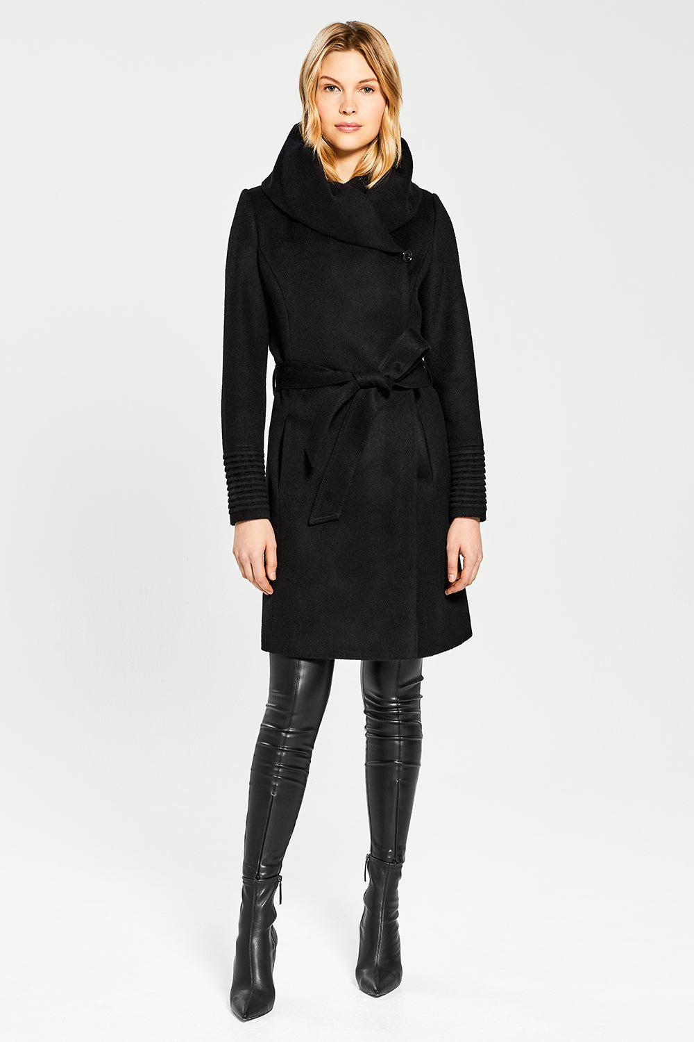 Sentaler Mid Length Hooded Wrap Coat featured in Baby Alpaca and available in Black. Seen from front.