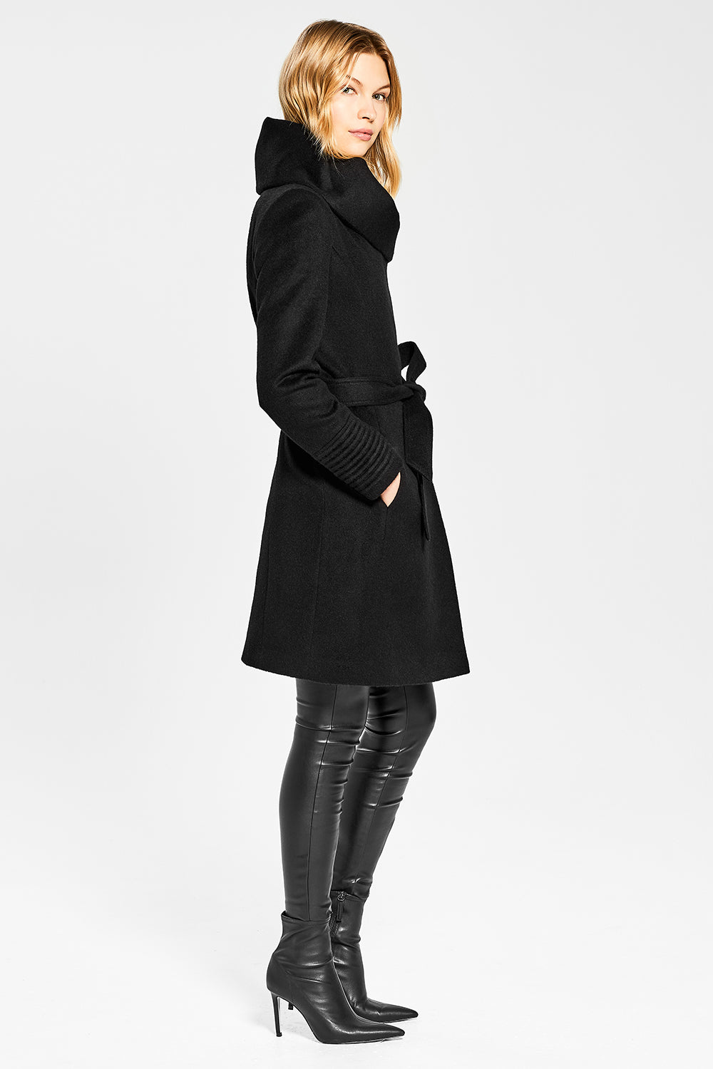 Sentaler Mid Length Hooded Wrap Coat featured in Baby Alpaca and available in Black. Seen from side.