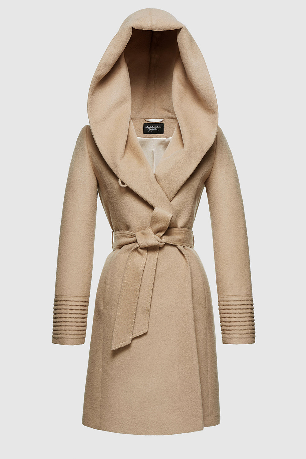 Sentaler Mid Length Hooded Wrap Coat featured in Baby Alpaca and available in Camel. Seen off model.