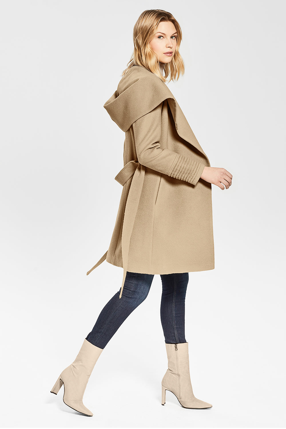 Sentaler Mid Length Hooded Wrap Coat featured in Baby Alpaca and available in Camel. Seen from side.