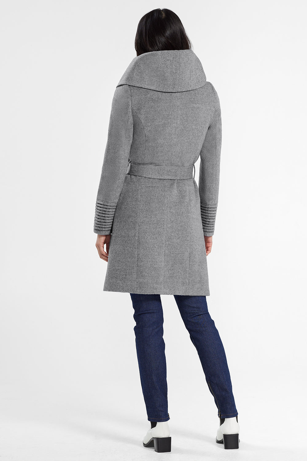 Sentaler Mid Length Hooded Wrap Coat featured in Baby Alpaca and available in Shale Grey. Seen from back.
