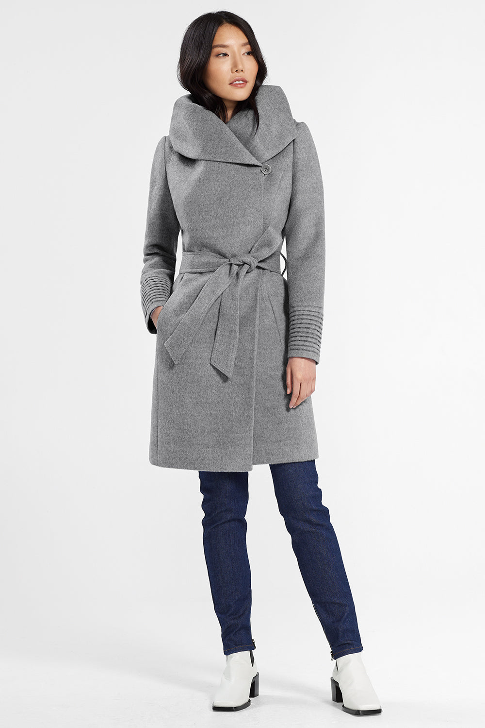 Sentaler Mid Length Hooded Wrap Coat featured in Baby Alpaca and available in Shale Grey. Seen from front.