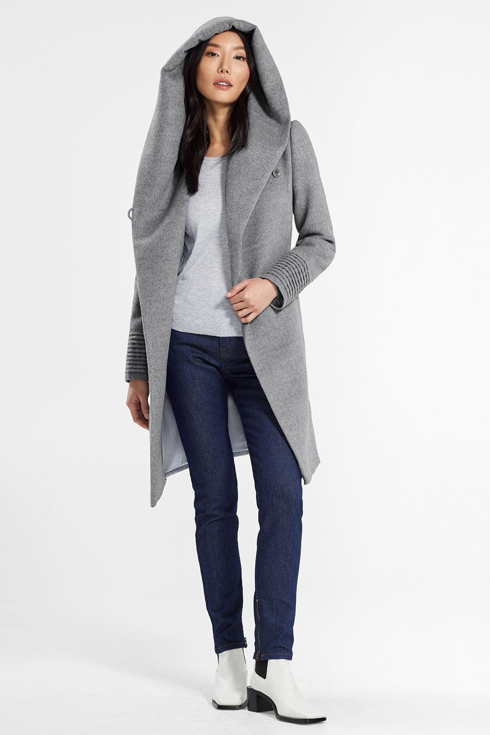 Sentaler Mid Length Hooded Wrap Coat featured in Baby Alpaca and available in Shale Grey. Seen open.