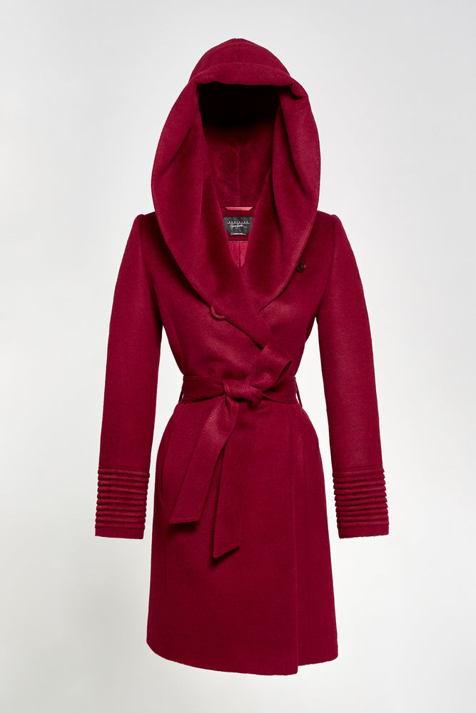 Mid Length Hooded Wrap Coat, Bordeaux