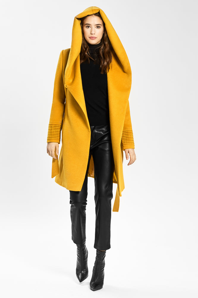 Mid Length Hooded Wrap Coat, Tuscan Sun