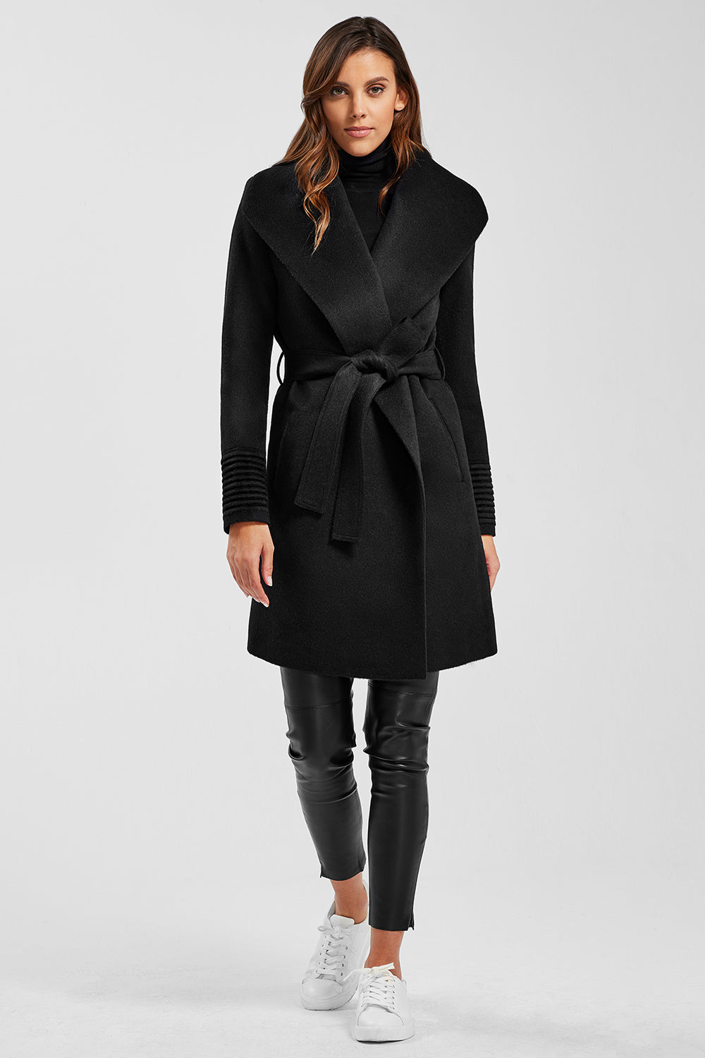 Sentaler Mid Length Shawl Collar Wrap Coat featured in Baby Alpaca and available in Black. Seen from front.