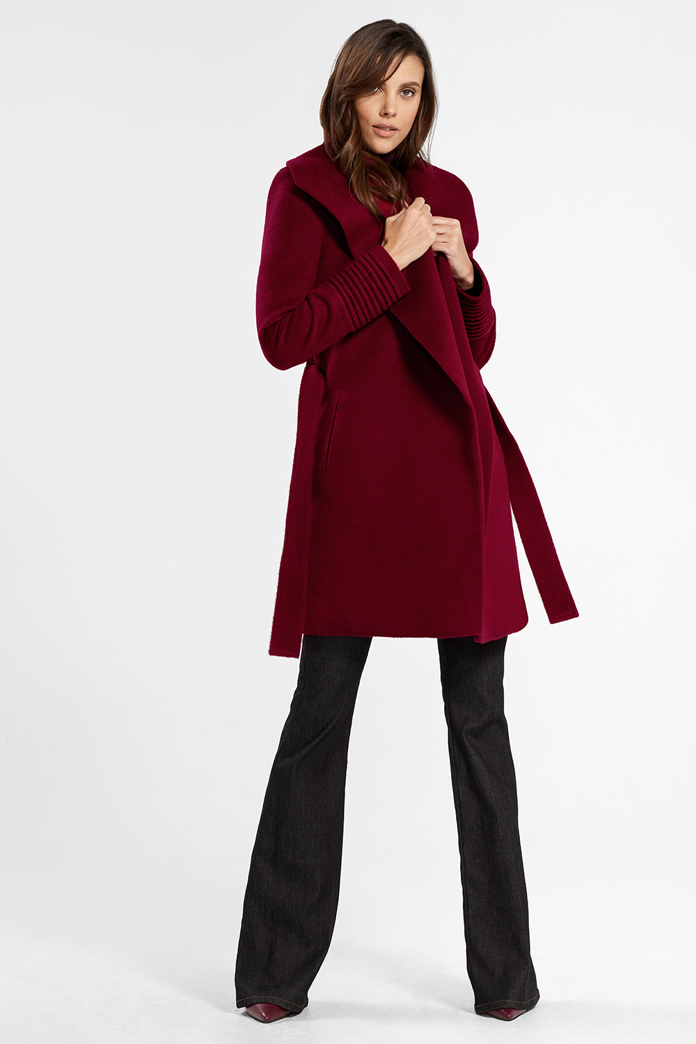 Sentaler Mid Length Shawl Collar Wrap Coat featured in Baby Alpaca and available in Garnet Red. Seen in action.