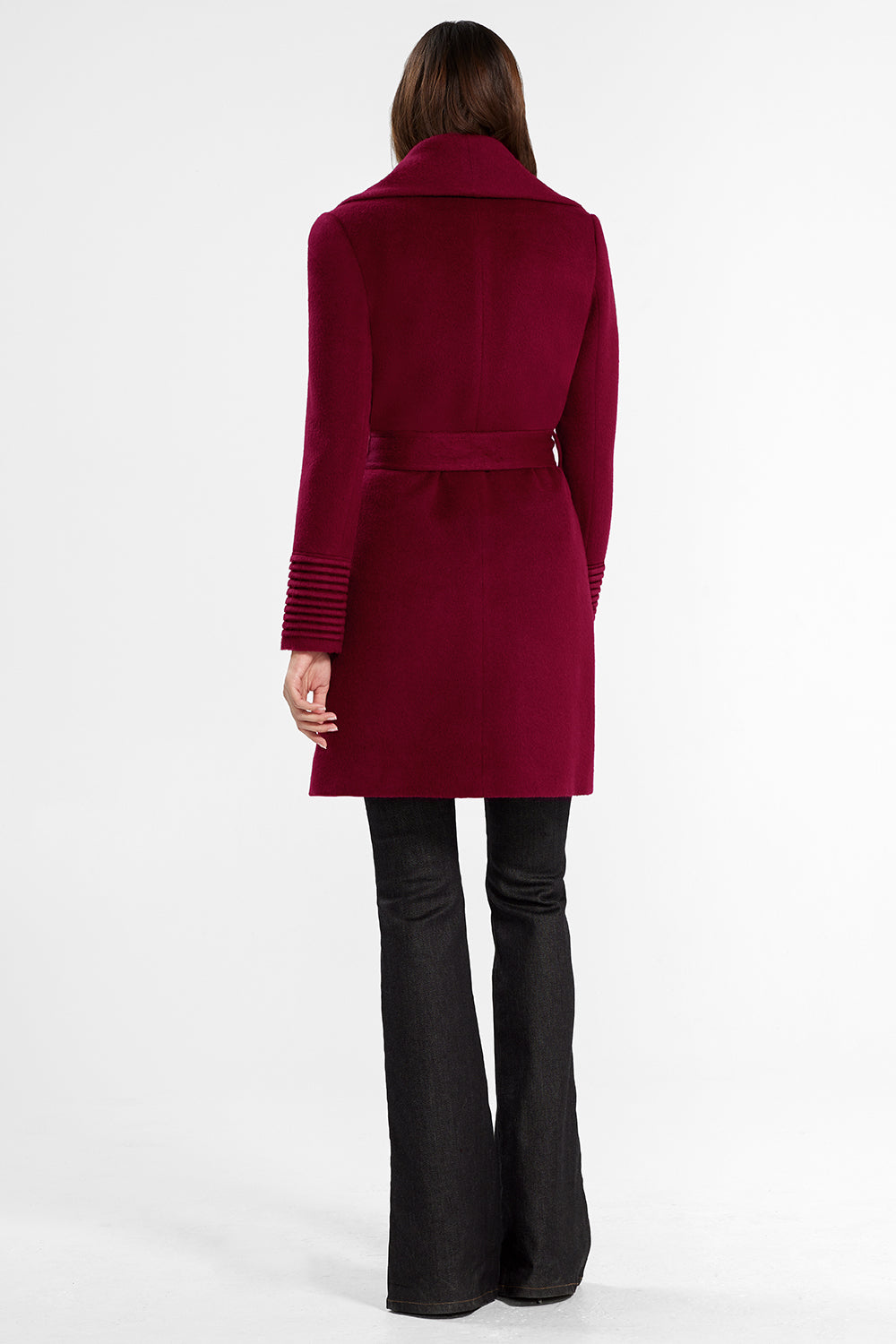 Sentaler Mid Length Shawl Collar Wrap Coat featured in Baby Alpaca and available in Garnet Red. Seen from back.