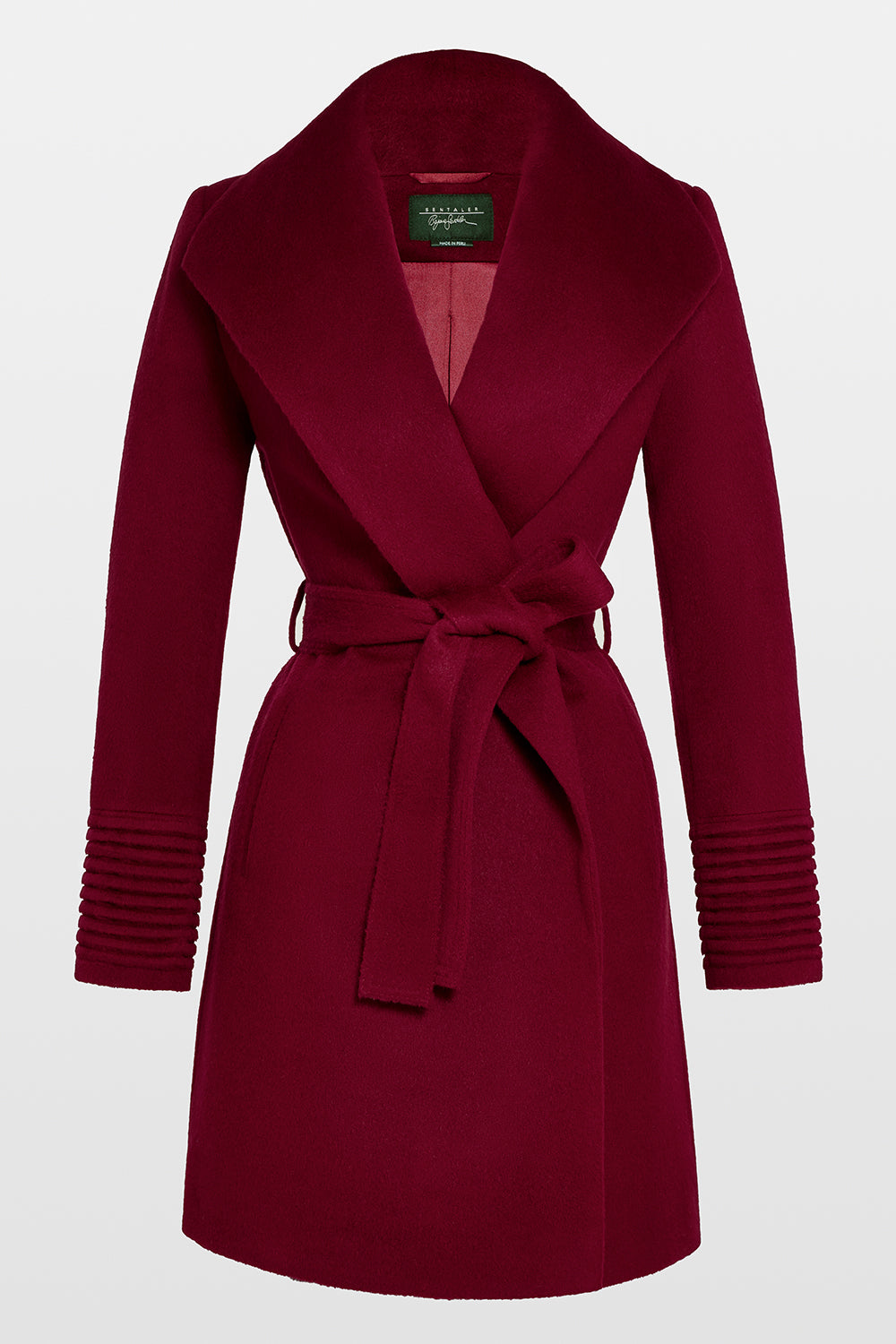 Sentaler Mid Length Shawl Collar Wrap Coat featured in Baby Alpaca and available in Garnet Red. Seen off figure.