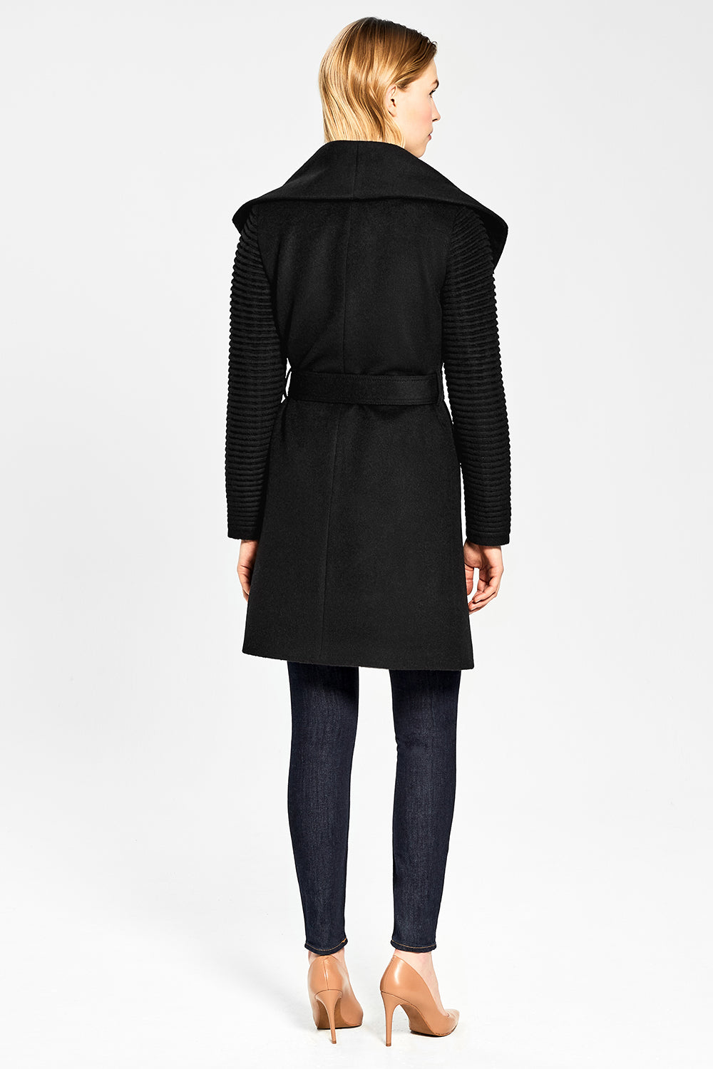 Sentaler Mid Length Shawl Collar Wrap Coat with Ribbed Sleeves featured in Baby Alpaca and available in Black. Seen from back.