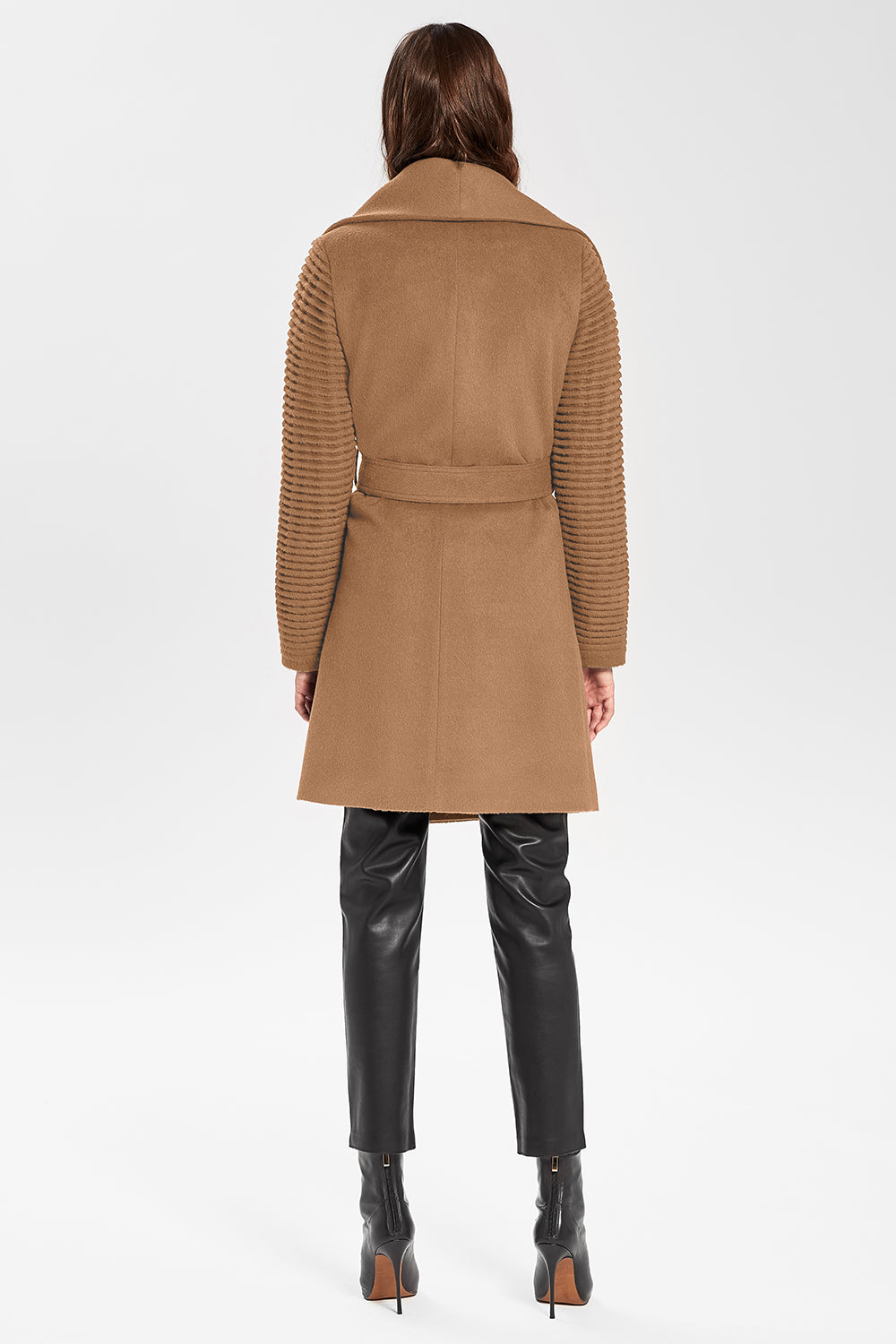 Sentaler Mid Length Shawl Collar Wrap Coat with Ribbed Sleeves featured in Baby Alpaca and available in Dark Camel. Seen from back.