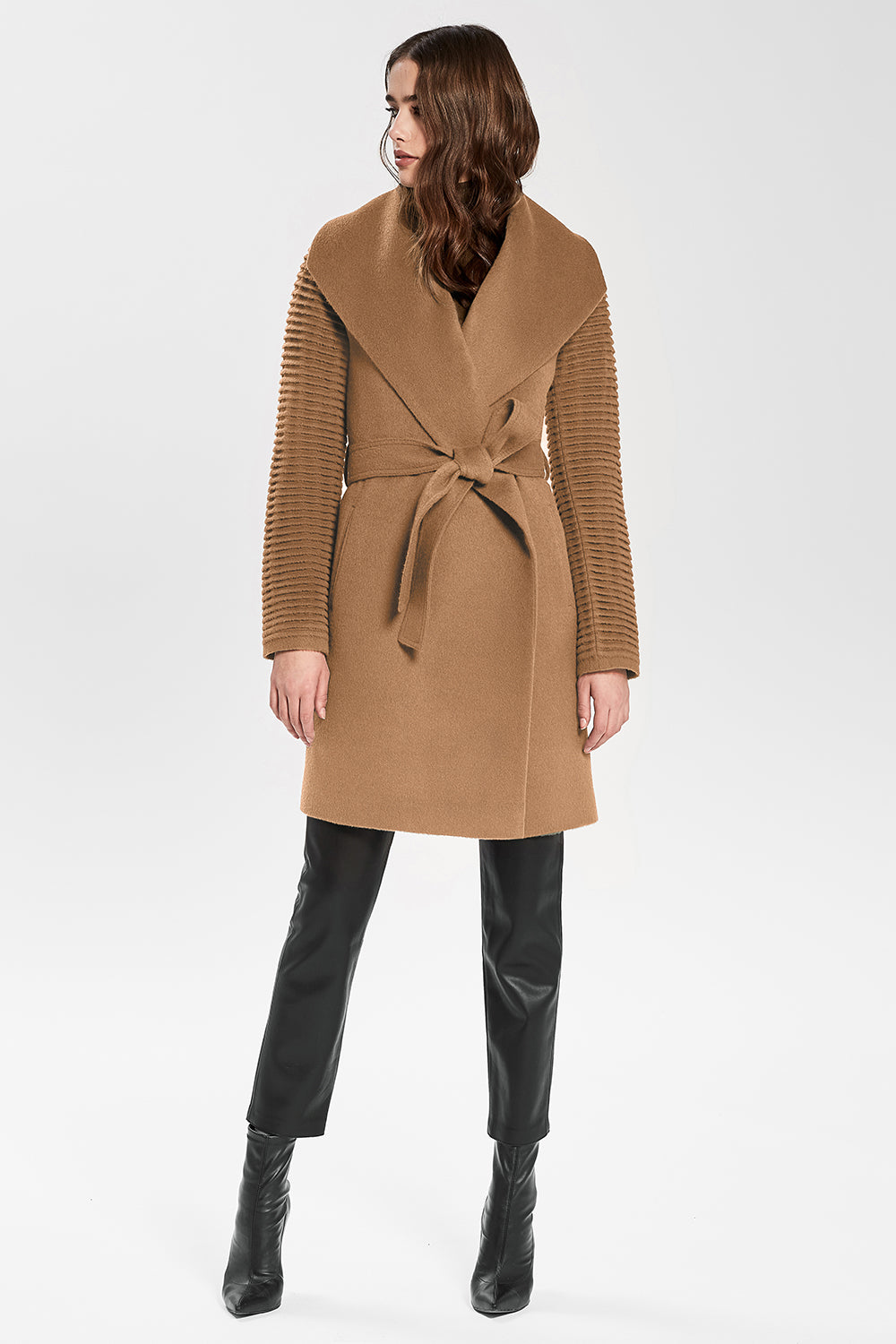 Sentaler Mid Length Shawl Collar Wrap Coat with Ribbed Sleeves featured in Baby Alpaca and available in Dark Camel. Seen from front.