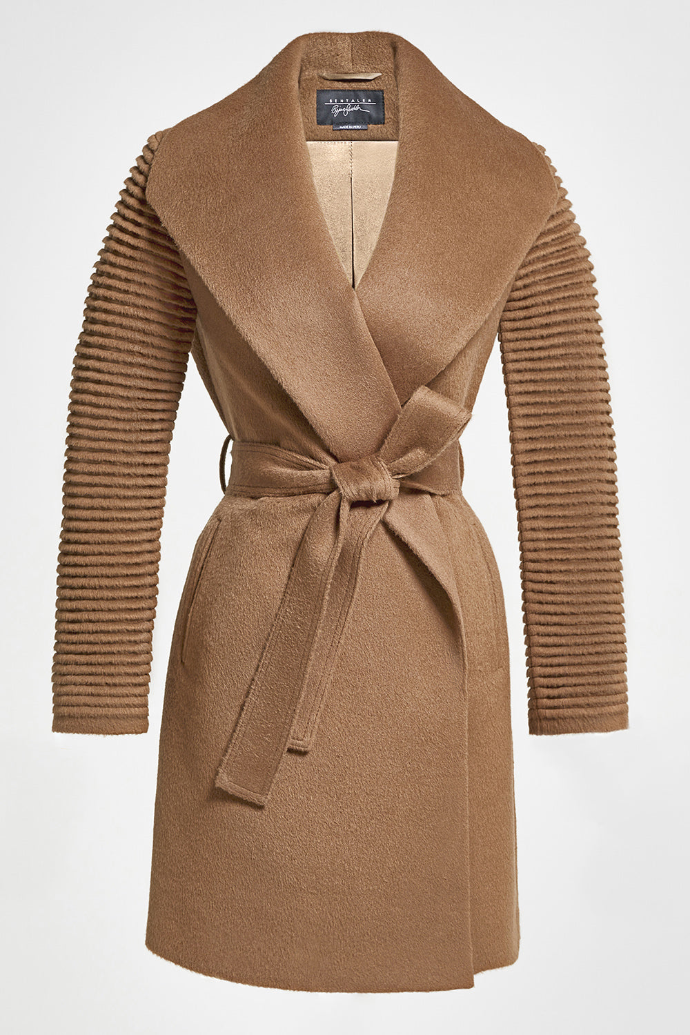 Sentaler Mid Length Shawl Collar Wrap Coat with Ribbed Sleeves featured in Baby Alpaca and available in Dark Camel. Seen off model.