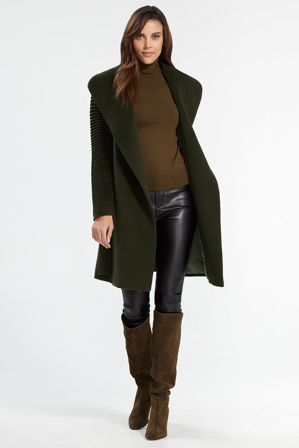 Sentaler Mid Length Shawl Collar Wrap Coat with Ribbed Sleeves featured in Baby Alpaca and available in Olive. Seen from open.