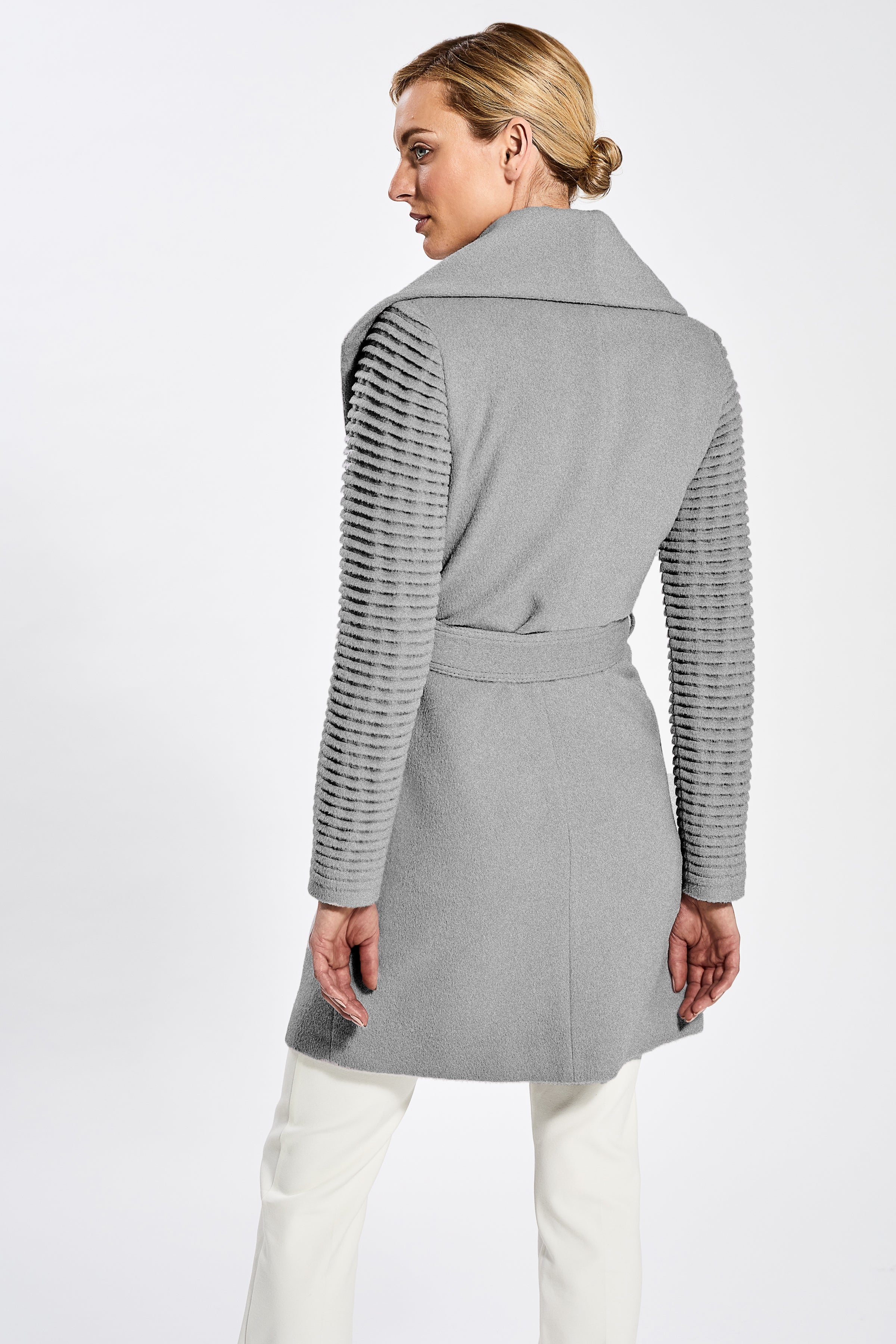 Mid Length Shawl Collar Wrap Coat with Ribbed Sleeves